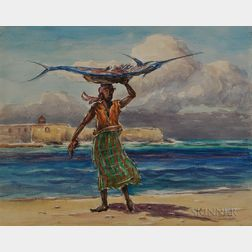 Reynolds Beal (American, 1866-1951)    Woman with Swordfish, Curaçao