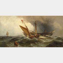 Edward Moran (American, 1829-1901)    Recovering the Wreck