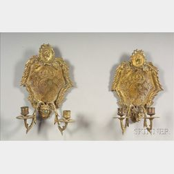 Pair of Continental Rococo-style Brass Two Light Wall Sconces