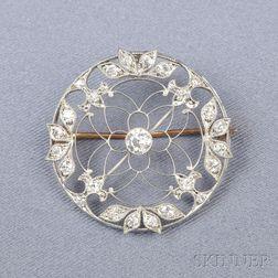 Edwardian Platinum and Diamond Circle Pin