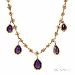 14kt Gold and Amethyst Fringe Necklace