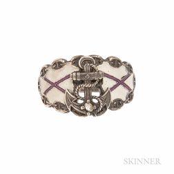 Silver and Enamel Nautical-theme Ring