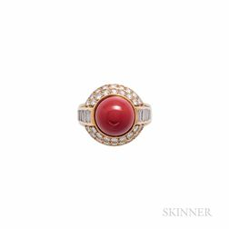 Tiffany & Co. 18kt Gold, Coral, and Diamond Ring