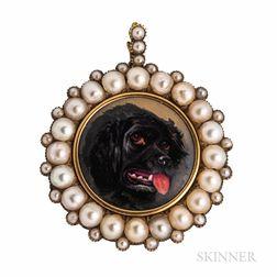 Antique Enamel Portrait of a Dog