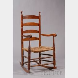 Turned Slat-back Armed Rocking Chair