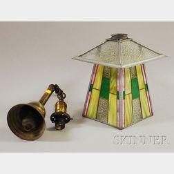Prairie School Style Leaded Glass Hanging Hall Light