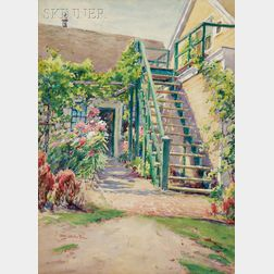 Henry Webster Rice  (American, 1853-1934)      The Garden Stairway