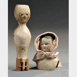 Painted Bedpost Doll Form and Carved Wood Doll Bust