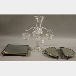 Baccarat-type Colorless Molded Glass Epergne and a Silver-plate-mounted Tri-part   Beveled Mirrored Glass Plateau