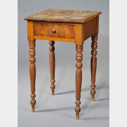 Classical Carved Birch, Maple, and Tiger Maple Veneer One-drawer Stand
