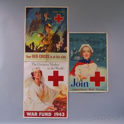 Three U.S. WWII Lithograph Red Cross Posters