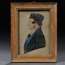 Anglo School, 19th Century      Small Profile Portrait of a Young Man Wearing a Cap.