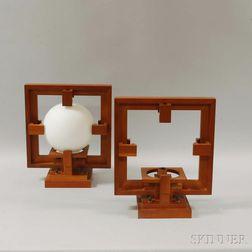 Pair of Frank Lloyd Wright Designed Cherry Wall Lights