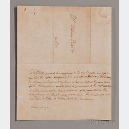 Jefferson, Thomas (1743-1826) Autograph Letter Signed, Philadelphia, 26 March 1793.