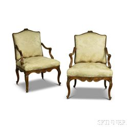 Pair of Louis XV-style French Provincial Carved Walnut Damask-upholstered Fauteuil