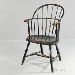 Black-painted Sack-back Knuckle-arm Windsor Chair