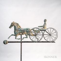 Molded Sheet Copper Horse and Four-wheel Sulky Weathervane