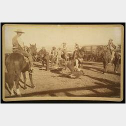 C.S. Fly (American, 1849-1901)  Imperial Cabinet Card Photograph of Cowboys Branding Mules