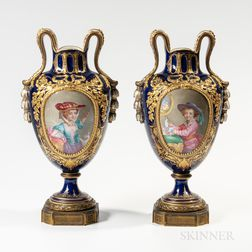 Pair of Sevres-style Porcelain Portrait Vases