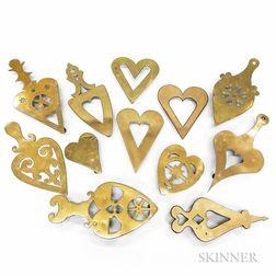 Twelve Brass Heart-form Trivets