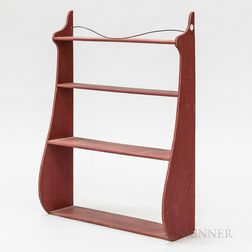 Red-painted Pine Four-tier Whale-end Shelf