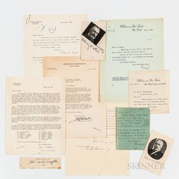 Ten Letters and Autographs from Early 20th Century Industrialists, Bankers, and Businessmen.