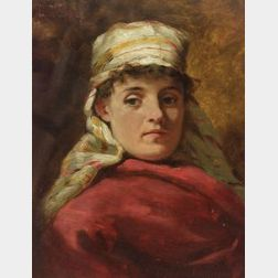 Lawrence Carmichael Earle (American, 1845-1921)  Portrait of a Woman with a Striped Head Scarf