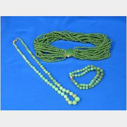 Jade Necklace and Nephrite Necklace and Bracelet.
