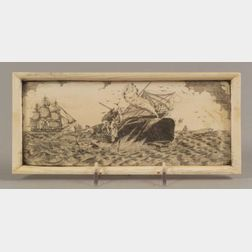 """Engraved Ivory """"Whale Fishery"""" Plaque"""