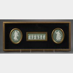 Framed Group of Three Wedgwood Green Jasper Plaques