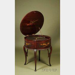 """Rare 20 3/4-inch """"Drum"""" Regina Disc Musical Box"""