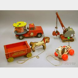 """Buddy """"L"""" Merry-Go-Round Truck, a German Digger, and Two Fisher-Price Toys"""