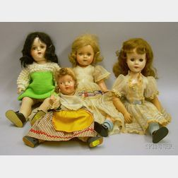 Three Composition Dolls and a Plastic Doll