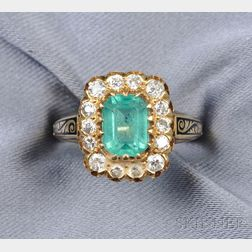 14kt Gold, Emerald and Diamond Ring