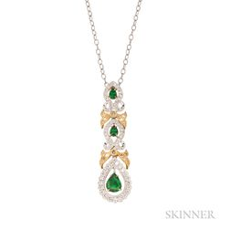 18kt Gold, Tsavorite Garnet, and Diamond Pendant, Simon G