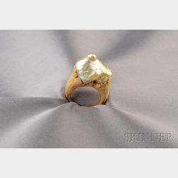 18kt Gold and Baroque Pearl Ring, Jean Francois Fichot