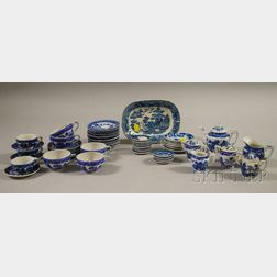 Quantity of Child's and Doll's Blue Willow Pattern Ceramic Dinnerware
