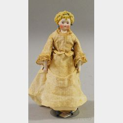 Small Curly-Haired Blond Parian Shoulder Head Doll