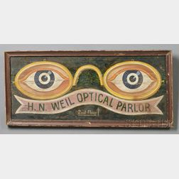 Painted Wooden Optician's Trade Sign