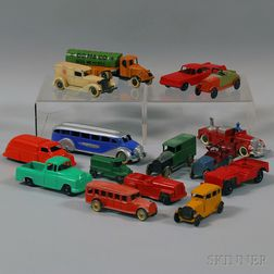 Fifteen Tootsietoy Painted Die-cast Metal Toy Vehicles