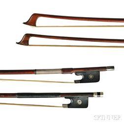 Two Nickel Silver-mounted Cello Bows