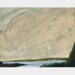 Simon Lissim (Ukrainian/American, 1900-1981)      Landscape with Billowing Clouds