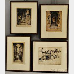 Ernest David Roth (American, 1879-1964)      Four Italian Views: Under a Loggia, Venice
