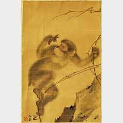 Japanese Scroll Painting of a Monkey Eating an Insect