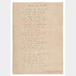 "Bates, Katharine Lee (1859-1929) Signed Autograph Fair Copy of ""America the Beautiful,"" Wellesley, Massachusetts, Undated."