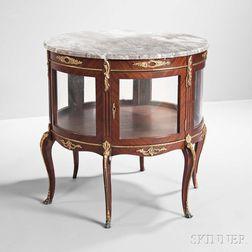 Napoleon III-style Marble-top Mahogany Display Vitrine