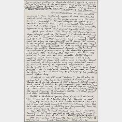 Lovecraft, H.P. (1890-1937) Autograph Letter Signed, 9 April 1934.
