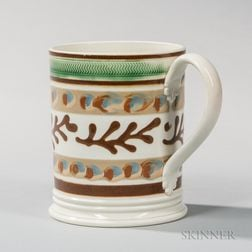 Pearlware Slip-decorated Quart Mug