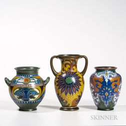Three Gouda Pottery Vases