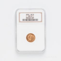 1926 $2.50 Indian Head Gold Coin, NGC MS61.     Estimate $200-300